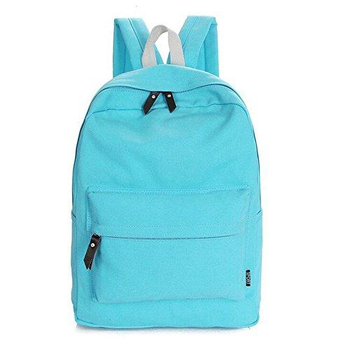 Heheja Lona Escolares Mochila Color Sólido Viaje Mochila Ocio Deportes Bolsa Cielo Azul