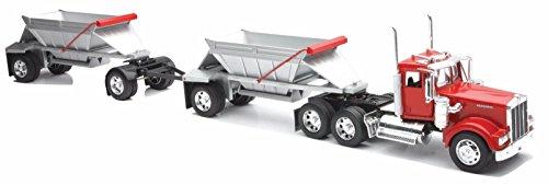 Dump Display - NewRay 1:32 Kenworth W900 Double Dump Truck Diecast Vehicle