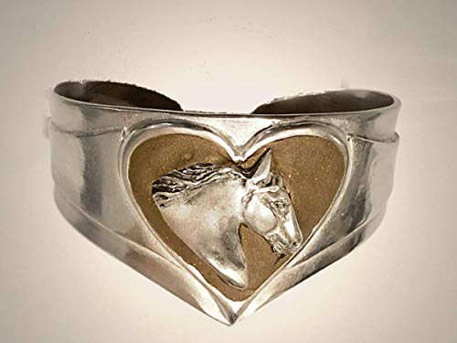 Gypsy Horse Heart Bracelet with Bronze clay set in mirror polished pewter cuff ()