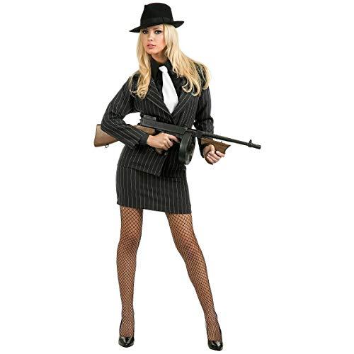 Gangster Moll Costume 20s Mobster Mafia Bonnie & Clyde Halloween Fancy Dress