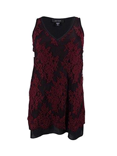 Karen Kane Women's Lace Overlay Tank Top, Wine Black, Medium