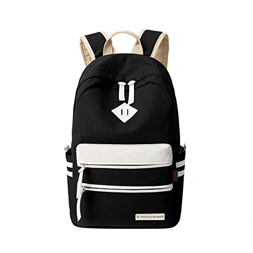 Ecokaki Canvas Backpack Shoulder Bag Bookbag School Bag Travel Backpack for Teens Black by Ecokaki
