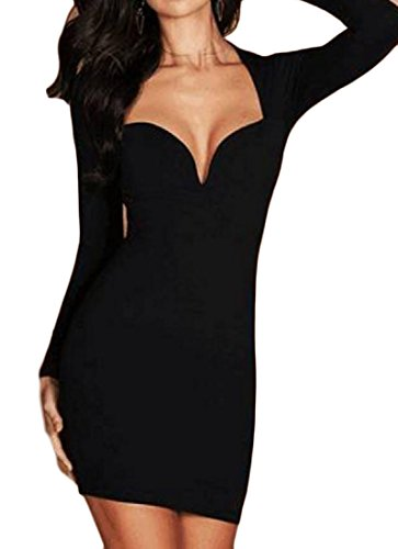Hip Solid Deep Coolred Colored Dress Package V neck Evening Women Black Club Twf117ZqAx