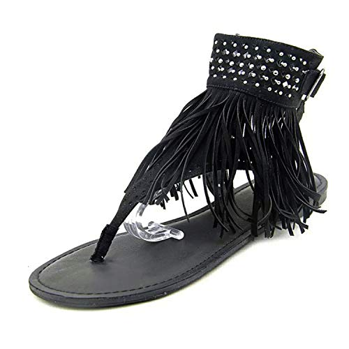 Summer Women's Fringed Open-Toed Rhinestone Slippers Flat Sandals Women's Shoes Sandals,Black,8.5 ()