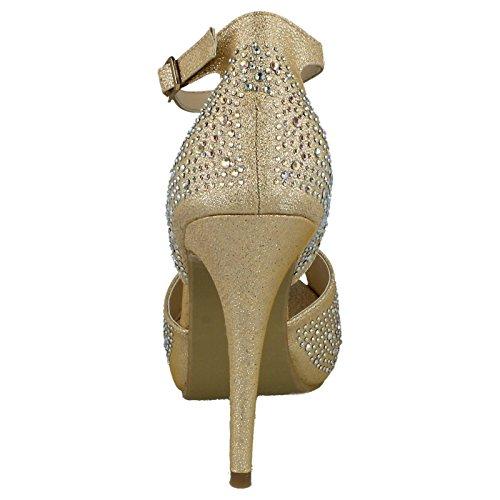 Ladies Platform Gold Anne Heel Sandals Michelle rErwq6