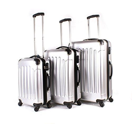 Plata–Juego de 3piezas 4Ruedas de maletas–Carcasa rígida Poly Carb PC bolsa