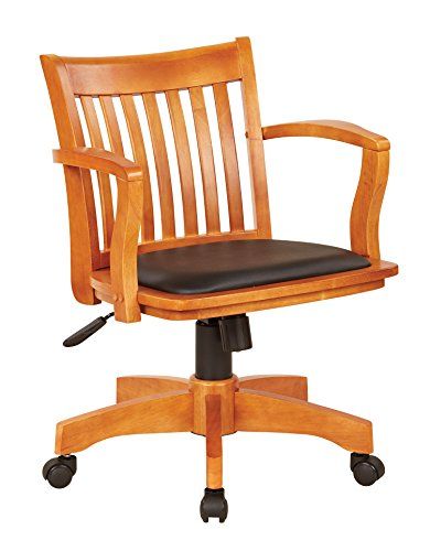 Office Star Deluxe Wood Bankers Desk Chair with Black Vinyl Padded Seat, Fruit Wood