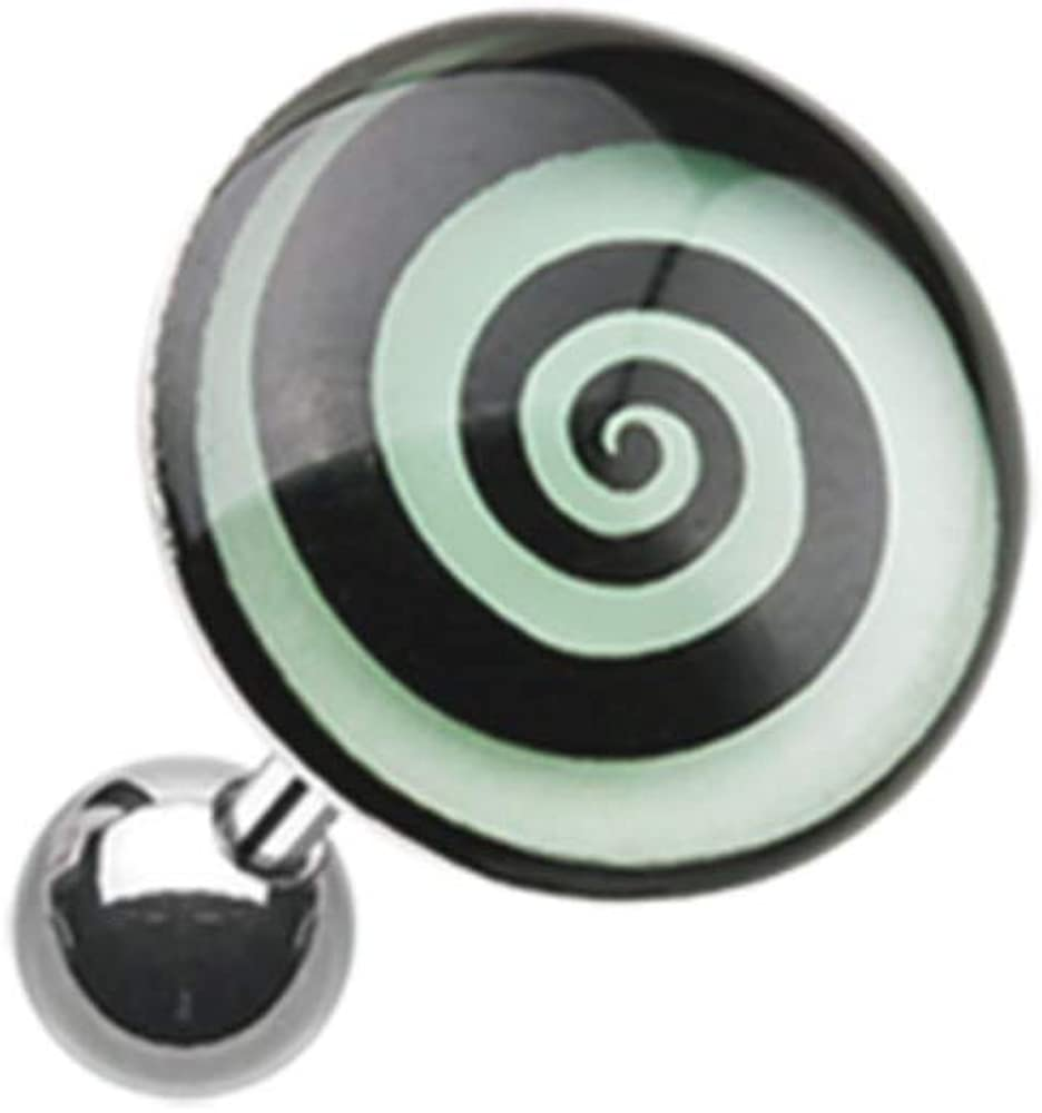 18 GA Glow in the Dark Hypnotic Swirl Cartilage Tragus Earring Davana Enterprises