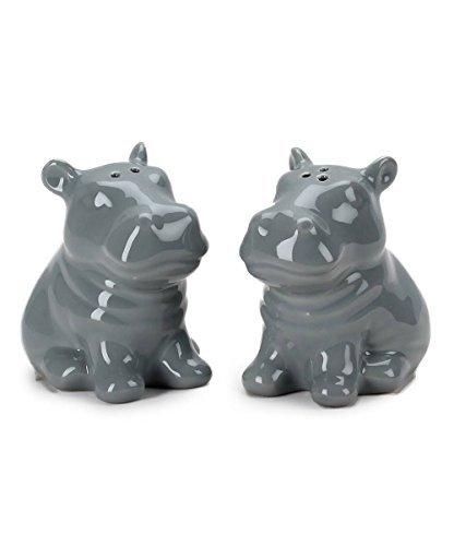Omniware Hippo Salt & Pepper Set, Gray 1.85