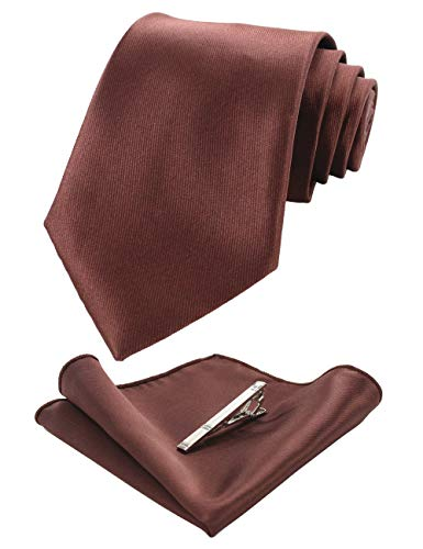 (JEMYGINS Mens Formal Brown Necktie and Pocket Square, Hankerchief and Tie Bar Clip Sets (7))