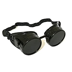 1 ALAZCO Black Welding Oxy-Acetylene Goggles Steampunk – 50mm Eye Cup #5 Lens – Welding, Torching, Soldering, Brazing & Cutting Metals – Made in Taiwan