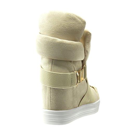 Angkorly - Scarpe da Moda Sneaker Zeppa zeppe donna tanga fibbia Tacco zeppa 7.5 CM - Beige