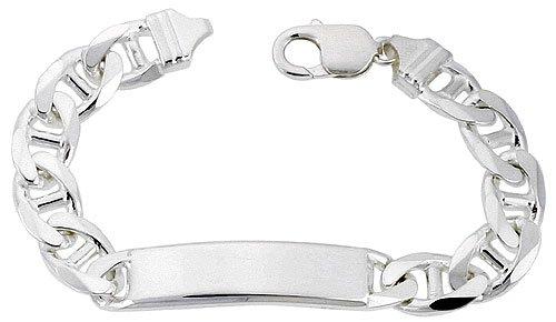 Sterling Silver Italian ID Bracelet Mariner Link 3/8 inch wide NICKEL FREE, 8 inch by Sabrina Silver