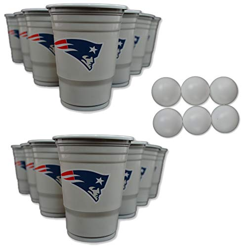 NFL Fan Shop Beer Pong Set. Rep Your Favorite Team with the Classic Game of Beer Pong at home or at the Tailgate Party - Comes with 22 Cups and 6 Ping Pong Balls (New England Patriots)