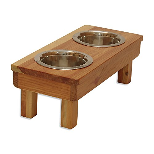 OFTO Raised Dog Single or Double Bowls – Solid Wood Cat and Dog Bowl Stands, with Embossed Stainless Steel Bowl(s) -Large, Medium, and Universal Sizes – Eco-Friendly and Non-Toxic – Made in the USA