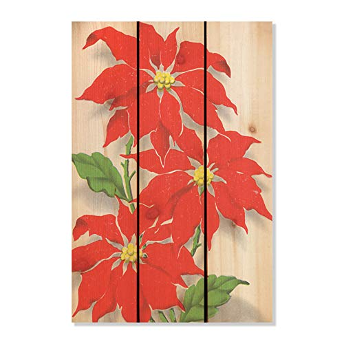 Gizaun Art Red Pointesttia Yard Art, 16 by 24-Inch