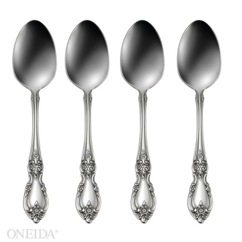 Oneida Louisiana Fine Flatware Set, 18/8 Stainless, Set of 4 Teaspoons