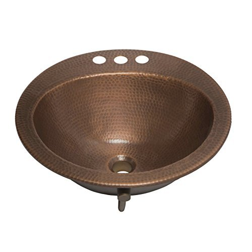 Sinkology SB101-19AC Bell Drop-in Handmade Copper Bath Sink with 4 Faucet Holes and Overflow, 19, Antique Copper by Sinkology