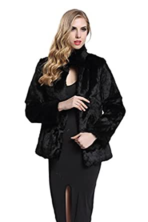 TOPFUR Women's Black Rabbit Skin Fur Coat With Stand Collar Outerwear(US 4)