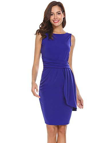 Draped Cocktail Mini Dress (Dethler Women Elegant Sleeveless V-Back Draped Ruffles Décor Cocktail Evening Office Mini Dress Dark Blue L)