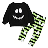 ezShe Baby Boys Halloween Costume Ghost Print Top Pants Outfits