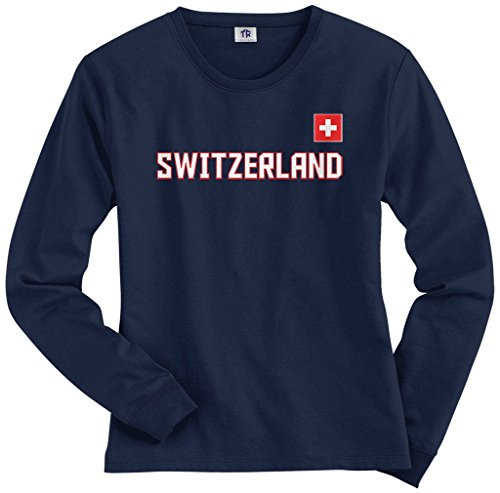 Threadrock Women's Switzerland National Pride Long Sleeve T-shirt M Navy (Womens Pride Long Sleeve)