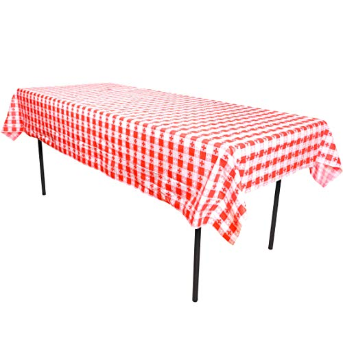 Narwhal Novelties Red And White Checkered Plastic Table Cover (Set of 8), 52