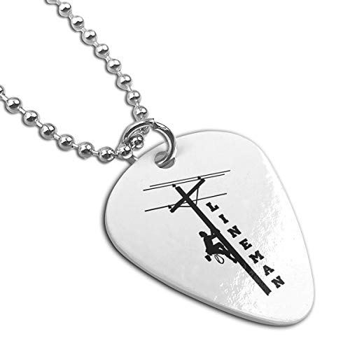 Z-YY Lineman Steel Pet Tag Keychain Guitar Pick Necklace ()