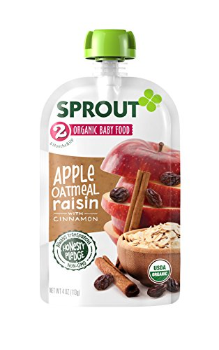 Sprout Organic Baby Food Pouches Stage 2 Sprout Baby Food, Apple Oatmeal Raisin with Cinnamon, 4 Ounce (Pack of 10); USDA Organic, Non-GMO, Made with Whole Foods, No Preservatives, Nothing Artificial
