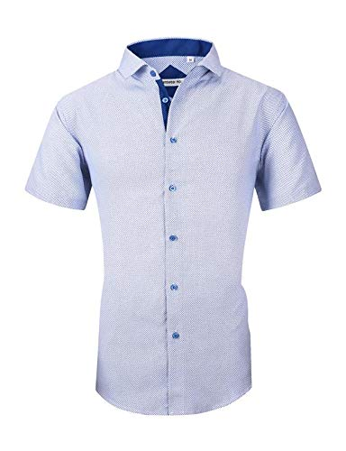 - Mens Long Sleeve Printed Dress Shirts Casual Button Down Regular Fit Men Shirt (short-blue01 M