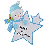 WorldWide Baby's 1st Christmas Ornament Baby Boy/Girl Star Christmas Personalized Gift(Blue)