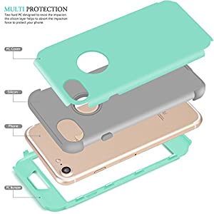 iPhone 6 Case, AOKER [] Hybrid Heavy Duty Shockproof Full-Body Protective Case with Dual Layer [Hard PC+ Soft Silicone] Impact Protection for Apple iPhone 6/6S 4.7 Inch by iphone 7 case 4.7 iphone 7 case 5.5 inch iphone 7 case 80s iphone 7 case 64gb iphon