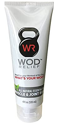 WOD Relief Muscle & Joint Rub. All-Natural Essential Oil Pain Relief Cream. Extra Strength Warming and Cooling. Pre and Post-Workout Fitness Recovery Balm For Athletes.