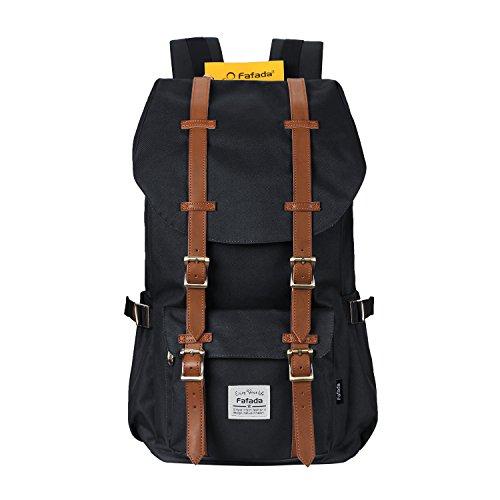 Fafada Nylon Vintage Rucksäcke Laptoprucksack Damen Herren Schulrucksack Retro Backpack für Campus Studenten und Outdoor Reisen Wandern mit Großer Kapazität Schwarz