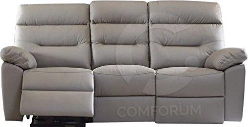 Sofá 3 plazas de Piel y PVC con Relax eléctrico Coloris ...