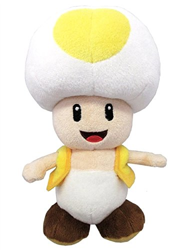 Mushroom 8 Inch Plush (Little Buddy Super Mario All Star Collection 1589 Yellow Toad Stuffed Plush, 8