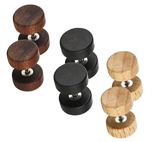 3 Pairs/Pack Wood Cheater Fake Ear Plugs Gauges Illusion Screw Stud Earrings for Men and Women, 6MM