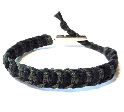 Hempnotic Jewelry Adjustable Alligator Clip Black and Dark Green Hemp Bracelet - Handmade