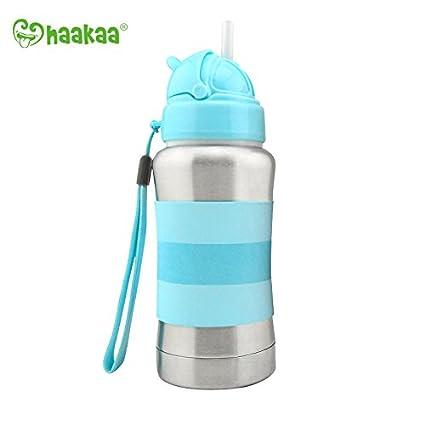 Haakaa - Regalo de Navidad para Bebé y Niño Botella Térmica de Acero Inoxidable Cuello Estándar con Pajita Silicona sin BPA 270ml (Azul)