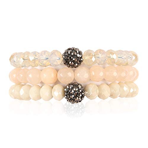 RIAH FASHION Bead Multi Layer Versatile Statement Bracelets - Stackable Beaded Strand Stretch Bangles Sparkly Crystal, Faux Druzy, Pave Fireball (Pave Ball & Natural Stone Mix - Ivory)