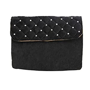 Cotton Rivet Plaid Pattern Horizontal 3 Layers Universal Cellphone Pouch Bag with Shoulder Strap Black