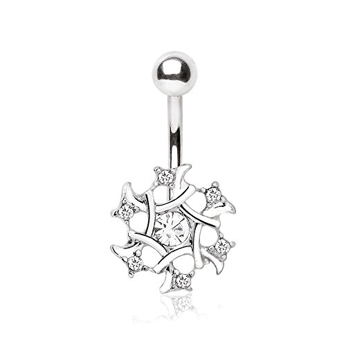 Multi-CZ Snowflake Navel Ring 316L Stainless Steel Navel Ring 14g Belly Button Ring Czs Dangle Belly Ring