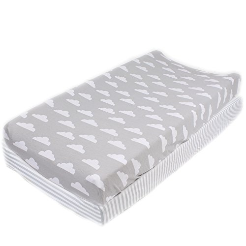 Cotton-Diaper-Changing-Pad-Cover-2-Pack-Stripes-Clouds-by-Mumby