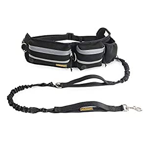 """FURRY BUDDY Hands Free Dog Leash, Dog Walking Training Belt Shock Absorbing Bungee Leash up to 180lbs Large Dogs, Phone Pocket Water Bottle Holder, Fits All Waist Sizes from 28"""" to 48"""" 44"""