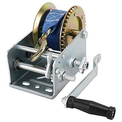 8MILELAKE Heavy Duty 2500lbs Hand Winch Crank Strap Gear Winch for Trailer Boat ATV: Home Improvement
