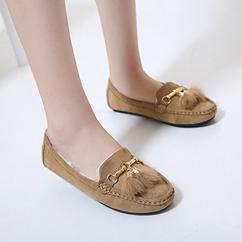Tantisy ♣↭♣ Girls Soft Cotton Warm Shoes Baby Cute Bow Pea Boots Ladies Casual Tassel Flats Shoes Beige by Tantisy ♣↭♣ (Image #2)