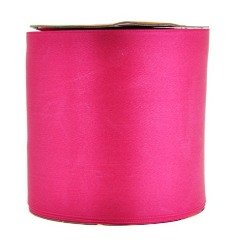 Mandala Crafts Fabric Satin Ribbon for Hair Bow Making, Sewing, Gift Wrapping, Flower Bouquets, Party Decorating, and Weddings (3 Inches 25 Yards, Hot Pink)