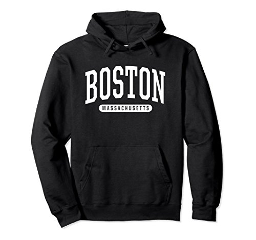 Unisex Boston Hoodie Sweatshirt College University Style Mass USA Large (Black Classic College Hoody Sweatshirt)
