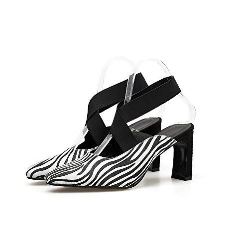 Salvaje Elástica Huecos Fengjingyuan Mujer Puntiagudas De Zapatos Y Sandalias Gruesas Baja Con White Banda Boca 1wzqRAx8nw