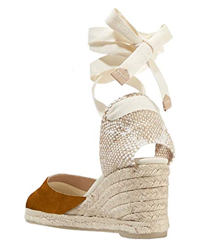 Womens Closed Toe Lace Up Espadrille Platform Wedges Sandals Shoes Canvas Ankle Tie Strap Dress Shoes Brown